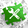 Service Concept on Green Puzzle Pieces. — Stock Photo