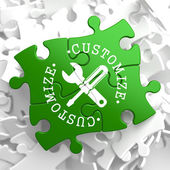 Customize Concept on Green Puzzle Pieces. — Stock Photo