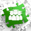 Group of Graduates Icon on Green Puzzle. — Stock Photo
