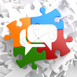 White Speech Bubble Icon on Multicolor Puzzle. — Foto Stock
