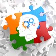 Psychological Concept on Multicolor Puzzle. — Stock Photo #34017131