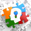 Psychological Concept on Multicolor Puzzle. — Stock Photo #34017733