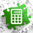 Stock Photo: Calculator Icon on Green Puzzle.