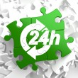 Service 24h Icon on Green Puzzle. — Stock Photo