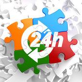 Service 24h Icon on Multicolor Puzzle. — Stock Photo