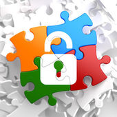 Security Concept on Multicolor Puzzle. — Stockfoto
