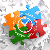 Time Management Concept on Multicolor Puzzle. — Stock Photo