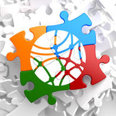 Social Network Icon on Multicolor Puzzle. — Stock Photo