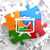 Flipchart Icon on Multicolor Puzzle. — Stock Photo