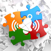 Icono de campana blanca llamada puzzle multicolor. — Foto de Stock
