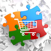 Shopping Cart Icon on Multicolor Puzzle. — Stock Photo