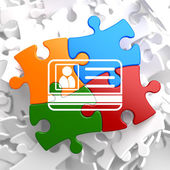 ID Card Icon on Multicolor Puzzle. — Stock Photo