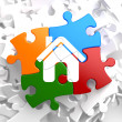 Home Icon on Multicolor Puzzle. — Stock Photo #34020783