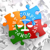 Complaint Concept on Multicolor Puzzle. — Stock Photo