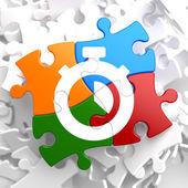Stopwatch Icon on Multicolor Puzzle. — Stok fotoğraf