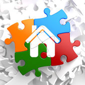 Home Icon on Multicolor Puzzle. — Stock Photo