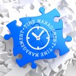 Time Management Concept on Blue Puzzle. — Stok fotoğraf