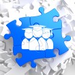 Stock Photo: Group of Graduates Icon on Blue Puzzle.