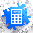 Calculator Icon on Blue Puzzle. — Stock Photo