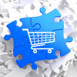 Shopping Cart Icon on Blue Puzzle. — Stock Photo