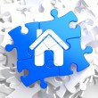 Stock Photo: Home Icon on Blue Puzzle.