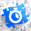 Stopwatch Icon on Blue Puzzle. — Stock Photo