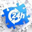 Service 24h Icon on Blue Puzzle. — Stockfoto
