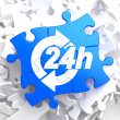 Service 24h Icon on Blue Puzzle. — Stok fotoğraf