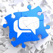 White Speech Bubble Icon on Blue Puzzle. — ストック写真
