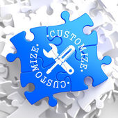 Customize Concept on Blue Puzzle. — Stock Photo