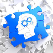Psychological Concept on Blue Puzzle. — Stock Photo