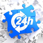 Service 24h Icon on Blue Puzzle. — Stock Photo