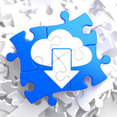 Cloud with Arrow Icon on Blue Puzzle. — Stock Photo