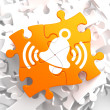 Ringing White Bell Icon on Orange Puzzle. — Lizenzfreies Foto