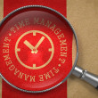 Magnifying Glass with Time Management Concept. — Stockfoto