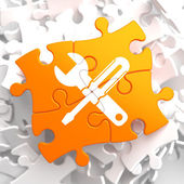 Service Concept on Orange Puzzle. — Stock Photo
