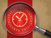 Magnifying Glass with Time Management Concept. — Stock Photo