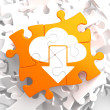 Cloud with Arrow Icon on Orange Puzzle. — Stock Photo