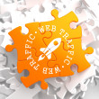 Web Traffic Concept on Orange Puzzle. — Stock Photo