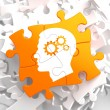 Psychological Concept on Orange Puzzle. — Stock Photo