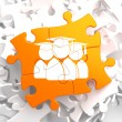 Stock Photo: Group of Graduates Icon on Orange Puzzle.