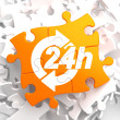 Service 24h Icon on Orange Puzzle. — ストック写真