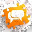 White Speech Bubble Icon on Orange Puzzle. — ストック写真