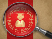 Magnifying Glass with Back to School Icon. — Foto de Stock