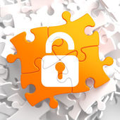 Security Concept on Orange Puzzle. — Stock Photo
