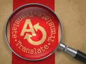 Magnifying Glass with Translating Concept. — Foto de Stock