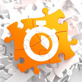 Stopwatch Icon on Orange Puzzle. — Stockfoto