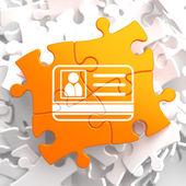 ID Card Icon on Orange Puzzle. — Stock Photo