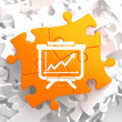 Flipchart Icon on Orange Puzzle. — Stock Photo