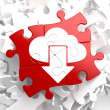 Cloud with Arrow Icon on Red Puzzle. — Stock Photo